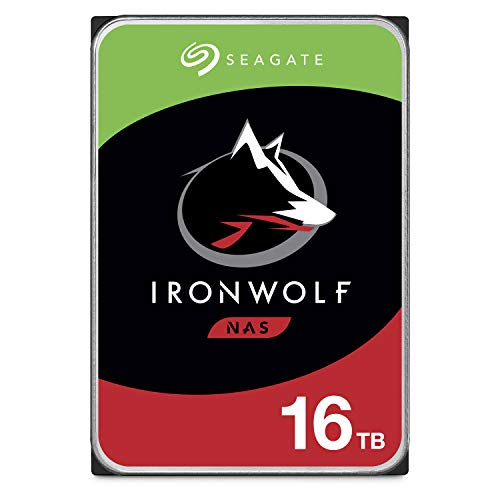 Seagate IronWolf 16TB NAS Internal Hard Drive HDD – CMR 3.5 Inch SATA 6GB/S 7200 RPM 256MB Cache for Raid Network Attached Storage, with Rescue Service (ST16000VN001)
