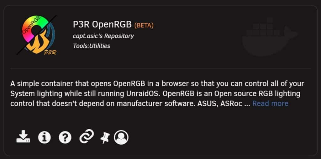 P3R OpenRGB in the Unraid Community Applications