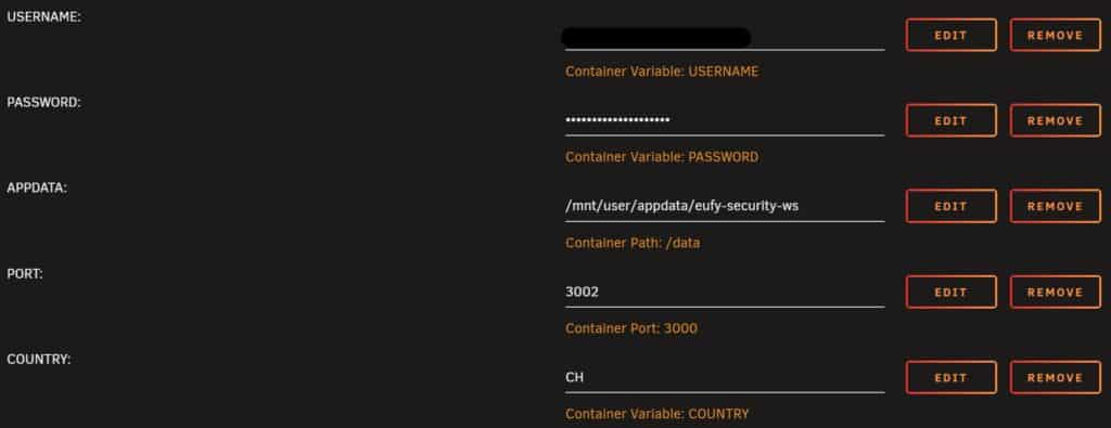 The full configuration for the Docker container eufy-security-ws on Unraid